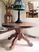 Antique High Stylish German Quartersawn Oak Table And Four Chairs Set So Rare
