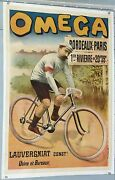 French Vintage Bicycles Poster Omega - Bordeaux Paris - Rivierre Winner 1897