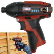 Sealey 12v Cordless 1/4 Hex Drive Impact Driver 80nm Body Only Led Indicator