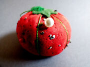 Vtg Red Cotton Pin Cushion Strawberry Tomato And Vintage Pins