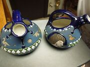 Antique C1920 Pair Of Blue Amphora Pottery Pitchers Made In Czechoslovakia