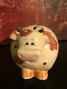 Cows On Parade Ceramic Art Piggy Bank Blue Red Flower Theme 5 X 5 Hand Painted