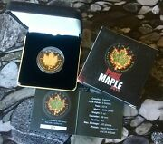 2014 Canada Burning Maple Leaf Fire Black Ruthenium Gold 1oz Silver Coin 500made