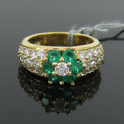 Vintage 1.14ct Diamond And 0.78ct Emerald 18k Yellow Gold Flower Cluster Ring