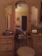 Bedroom Furniture, Light Wood- 2 Armoires And A Dressing Table W/ Miorror