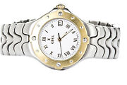 Ebel Wave 18k Yellow Gold And Stainless Steel Roman Numerals Women's Watch