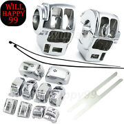 Chrome Switch Housing Cover 10pcs Caps Fit For Harley Electra Glide Street Gilde