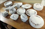 Set of 64 TURNER BROWN TRANSFER DINNER SERVICE Plates Cups Bowls Serving Pieces