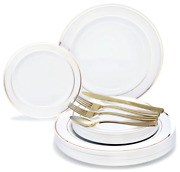 Occasions Wedding Party Disposable Plastic Plates And Gold Silverware - Customize