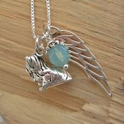 Shih Tzu Large Angel Wing Sterling Silver Necklace -free Shipping