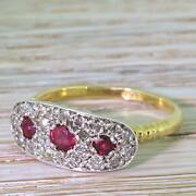 Mid Century 0.25ct Ruby And 0.33ct Diamond Cluster Ring - 18k Gold - C 1955