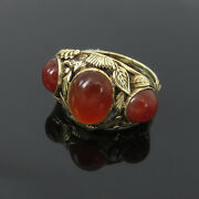 Antique Hand Carved Carnelian Gemstone And 14k Yellow Gold Floral Ring