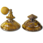 Matching Perfume And Powder Jar With Sterling Overlay - 1910