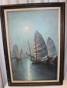 Vintage Signed Oil Painting Hong Kong Harbor Chinese Junk Ship Oil Canvas