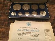 1976 Jamaica 9-coin Proof Set ,franklin Mint Sterling Silver, 500 Ag, Coa