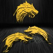 2x 3 3d Abs Emblem Decal Motorcycle Bike Glossy Sticker Wolf Gang Chromed Gold