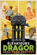 Original Vintage Poster Elevateurs Dragor By Igert 1935 French Water Pump
