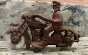 Vintage Champion Hardware Company Cast Iron Toy Police Motorcycle With Officer