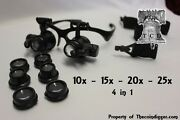 25x Magnifier Led Binocular Dual Magnifying Glasses 4 In 1 Gems Geode Crystal