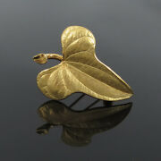 Rare 1940andrsquos And Co George Schuler 14k Yellow Gold Hand Made Leaf Brooch