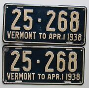 Vermont 1938 License Plate Pair - Nice Quality 25-268