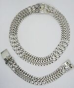 50's Master Taxco Jeweler Espinoza Te-06 Curb Sterling Bracelet + Necklace Set