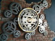 Large Wall Clock Round Steampunk Rotating Gears Metal Gold Silver Big Skeletons