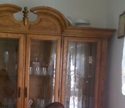 Ethan Allen Classic Manor Lighted China Display Storage Cabinet Solid Fruit-wood