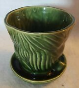 """VTG McCoy Art Pottery ~ Brush B218-4 """"Tree Trunk"""" Planter w/ Attached Underplate"""
