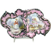 Hand-painted Porcelain Dresser Tray With Sterling Overlay - 1870and039s