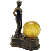 Semi-nude Electric Boudoir Lamp With Crackle Glass Ball Shade - 1920and039s Art Deco