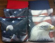 Set Of 8 Resin All Weather Stop/go Pro Tournament Cornhole Bags Duck/suede Eagle