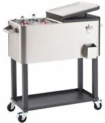 Stainless Steel Wheeled Cooler Rolling Pool Party Patio Ice Cart 20 Gal 24 Cans