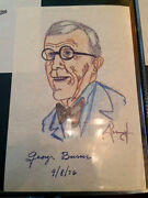George Burns Signed / Autograph Picture / Drawing 1970's