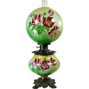 Hand-painted Banquet Lamp With Raised Enamel Painting - 100 Original - 1880and039s