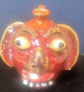 AV SMITH FACE JUG POTTERY RARE RED SANFORD NC CATAWBA VALLEY FABULOUS SIGNED