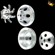 Billet Small Block 4 Pulley Set Fits Chevy 350 383 400 With Long Water Pump Sbc