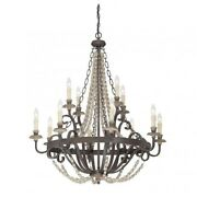 Savoy House Mallory 12 Light Chandelier In Fossil Stone