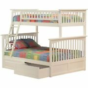 Atlantic Furniture Columbia Twin Over Full Storage Bunk Bed In White