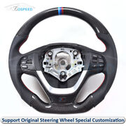 Carbon Fiber + Leather Thick Sculpted Customized Steering Wheel For Bmw X3 X4