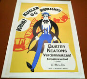 Buster Keaton Vintage 1923 Our Hospitality Silent Film Danish Movie Poster Litho