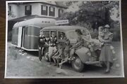 12 By 18 Black And White Picture Ford 1940 Wagon With Camper Trailer