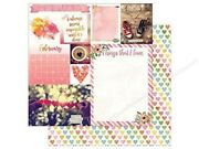 February Calendar Girl 12x12 Scrapbook Paper 5pc Double Sided - By Bo Bunny