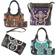 Justin West Concealed Carry Laser Cut Concho Embellishment Cross Studded Purse
