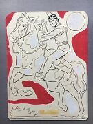 Original Art, Western Coloring Book Art, 1950's, Tonto With Extra Art On Back