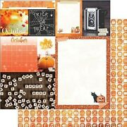 October Calendar Girl 12x12 Scrapbook Paper 5pc Double Sided - By Bo Bunny