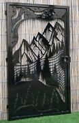 Decorative Steel Gate Andndash Mountain View Pine Trees Nature Scene Entryway Gate