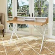 Alexandria Modern White And Oak Computer Desk With Storage Space