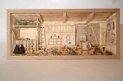 Large German Natural Old Wooden 3d Picture Diorama Farm Shed Barn Scheune Stall