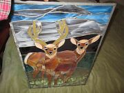 Antique American Figural Stained Glass Window Pair Of Deer Pane Buck And Doe Pane